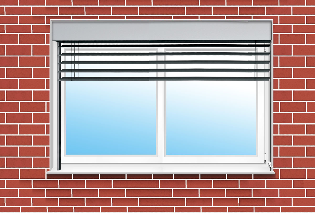 Jalousiekasten in der Fassadenebene  über dem Fenster